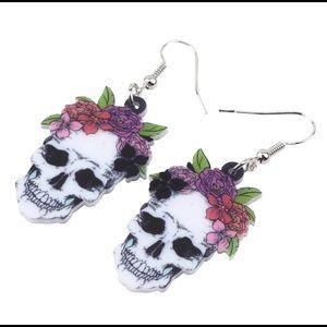 Boho Crown Floral Skull Earrings